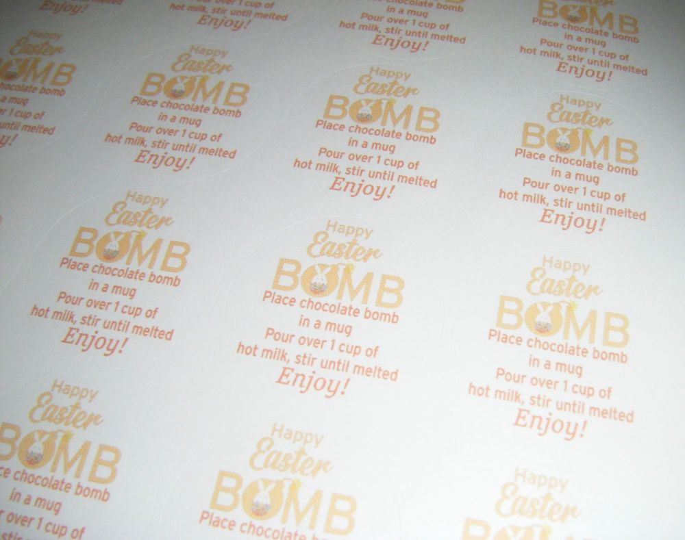 A4 24 Per Sheet Sheet of Easter Hot Chocolate Bomb Stickers Orange