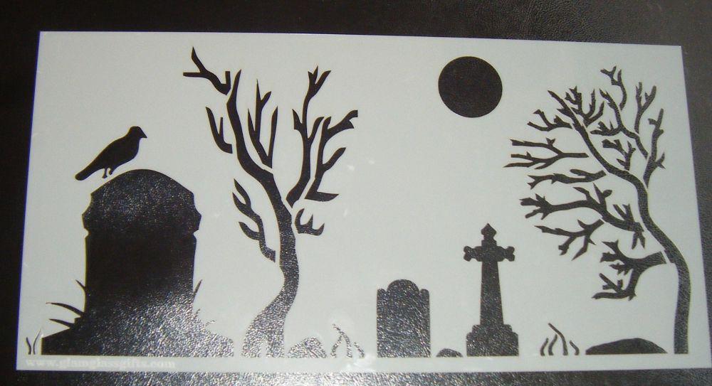 Graveyard Spooky Cake Decorating Stencil Airbrush Mylar Polyester Film