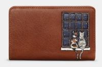 Midnight Cats Zip Round Leather Purse - Yoshi