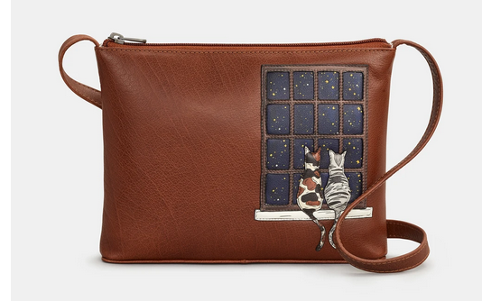 Midnight Cats Leather Cross Body Bag