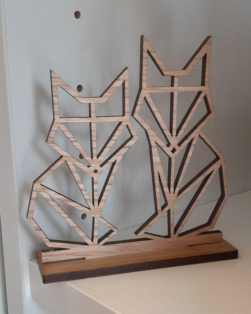 Geometric Fox Couple - Mini Freestanding Wooden Sign