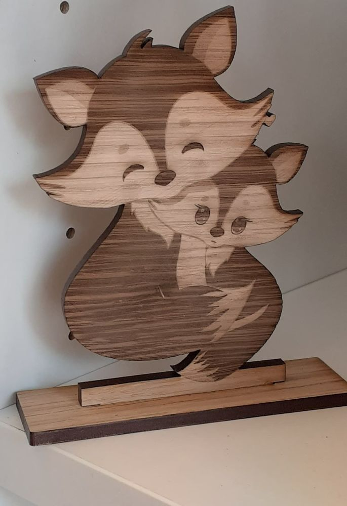 Fox Mum With Cub - Mini Freestanding Wooden Sign
