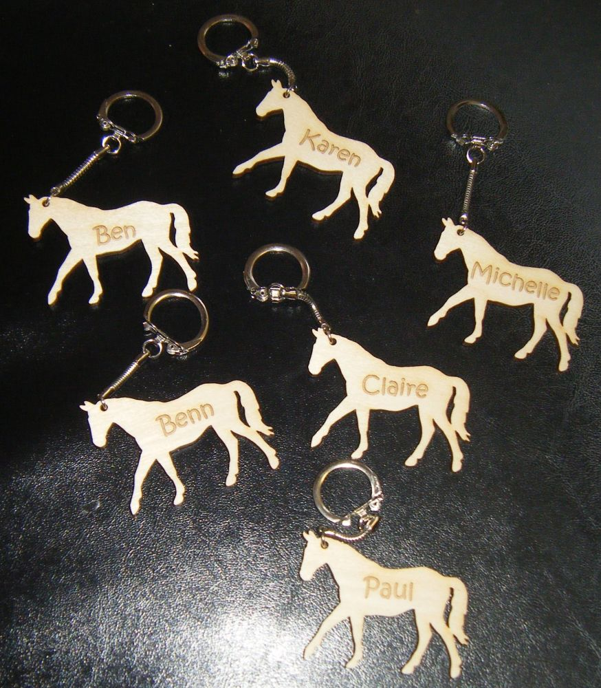 Horse or Animal Keyring Wooden Engraved - Can Be Personalised