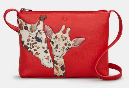Mother's Pride  Giraffes Leather Cross Body Bag