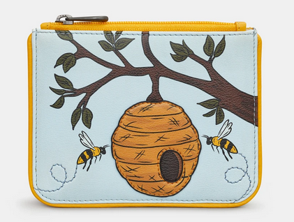 Bee Hive Zip Top Leather Coin Purse - Yoshi