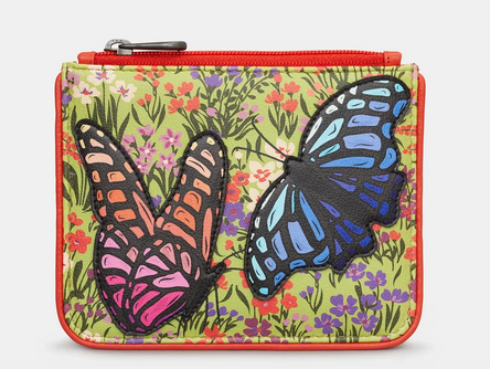 Butterfly Zip Top Leather Coin Purse - Yoshi