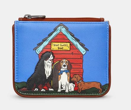 Bone Sweet Bone Dogs Zip Top Leather Coin Purse - Yoshi