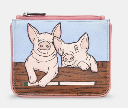 Hogs And Kisses Pigs Zip Top Leather Coin Purse - Yoshi