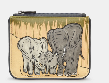 Elephant Family Zip Top Leather Coin Purse - Yoshi