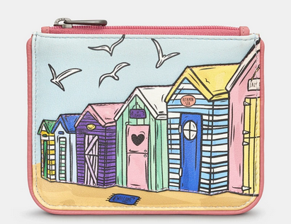 Beach Huts Zip Top Leather Coin Purse - Yoshi