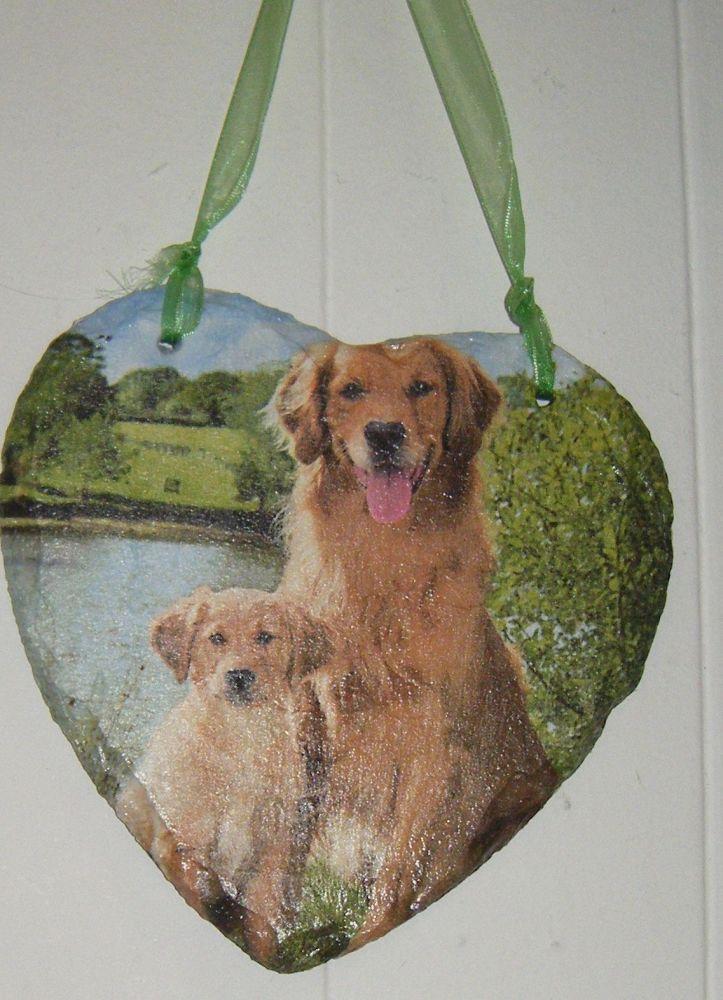 Decoupage Slate Hanging Heart - Golden Retriever Dog Design