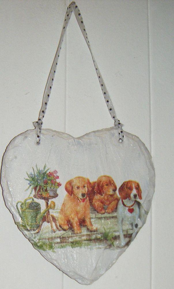 Decoupage Slate Hanging Heart - Mixed Dog Design