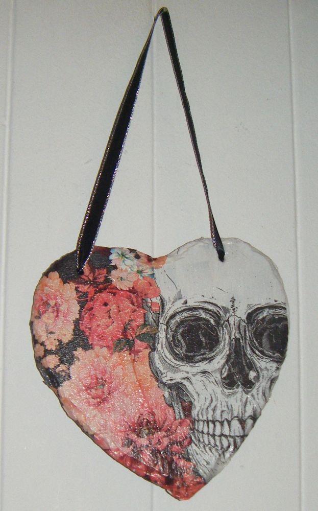 Decoupage Slate Hanging Heart - Flowers And Skull Gothic Design