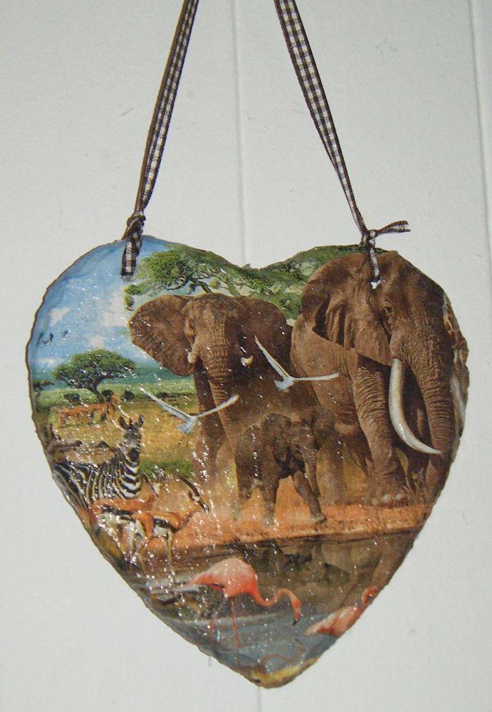 Decoupage Slate Hanging Heart - African Safari Design