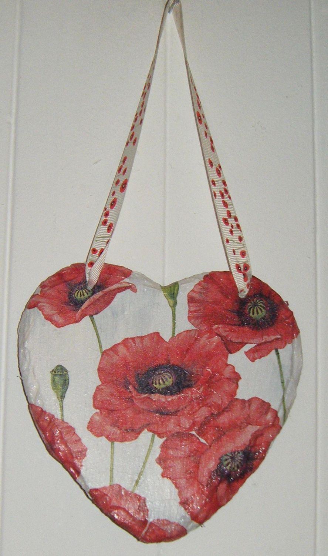 Decoupage Slate Hanging Heart - Poppy Design