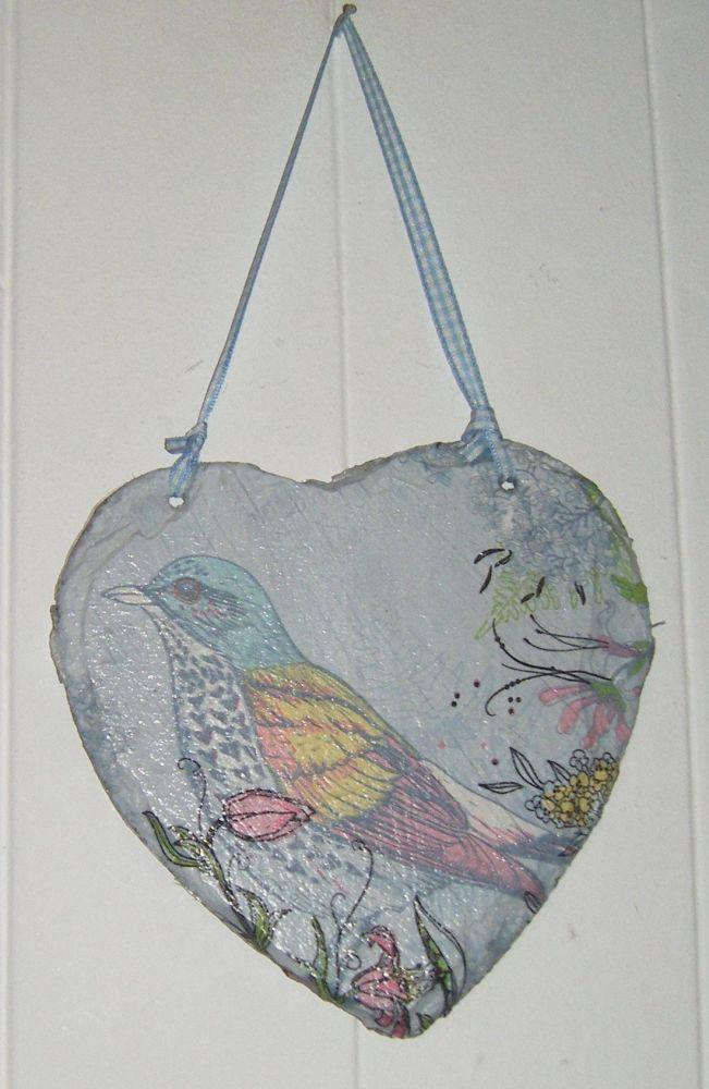 Decoupage Slate Hanging Heart - Bird Design