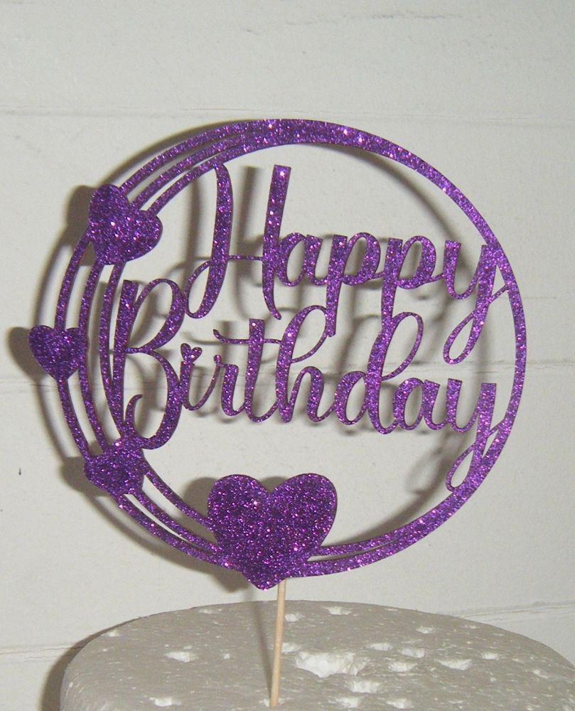 Happy Birthday Circle Hearts Cake Topper