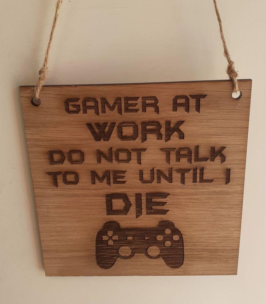 Gamer At Work Room Wooden Plaque Door Sign