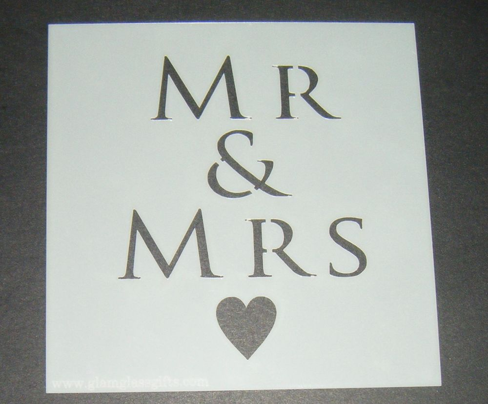Mr & Mrs with Heart - Cake Decorating Stencil Airbrush Mylar Polyester Film