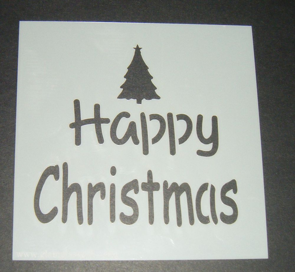 Happy Christmas with Tree - Cake Decorating Stencil Airbrush Mylar Polyester Film