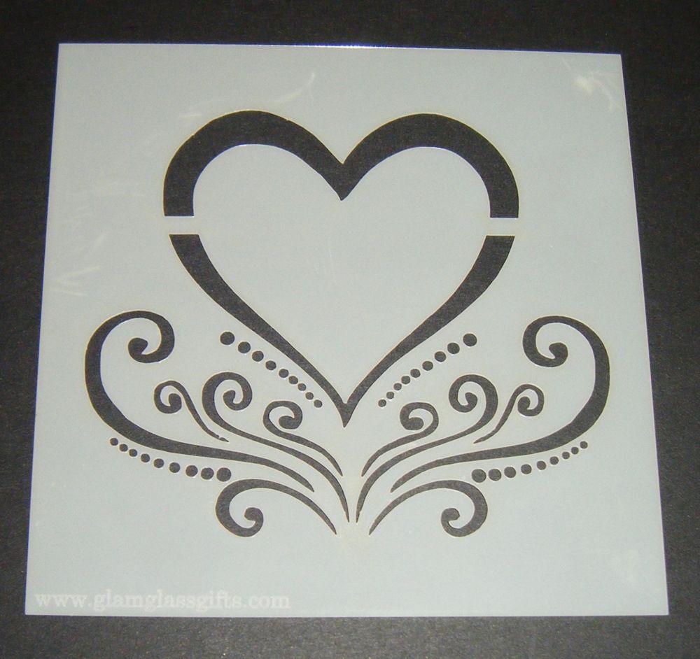 Heart Fancy Design Cake Craft Stencil