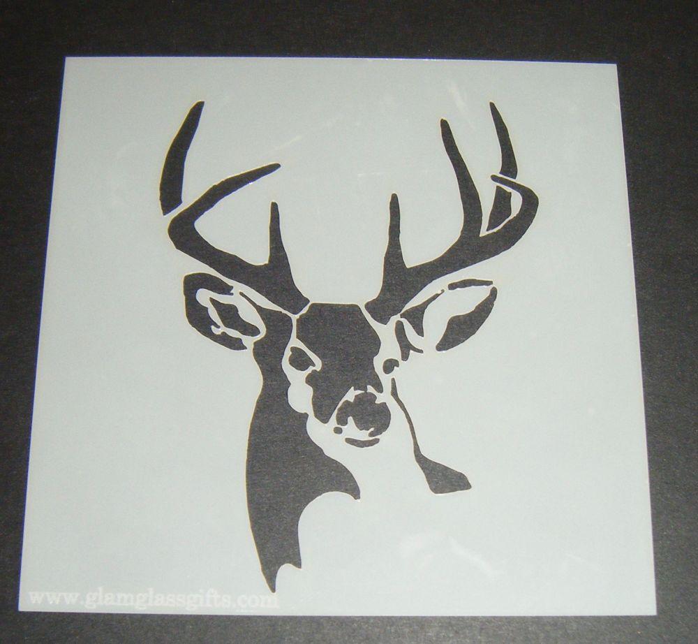 Stag Head Design 2 Cake Craft Stencil