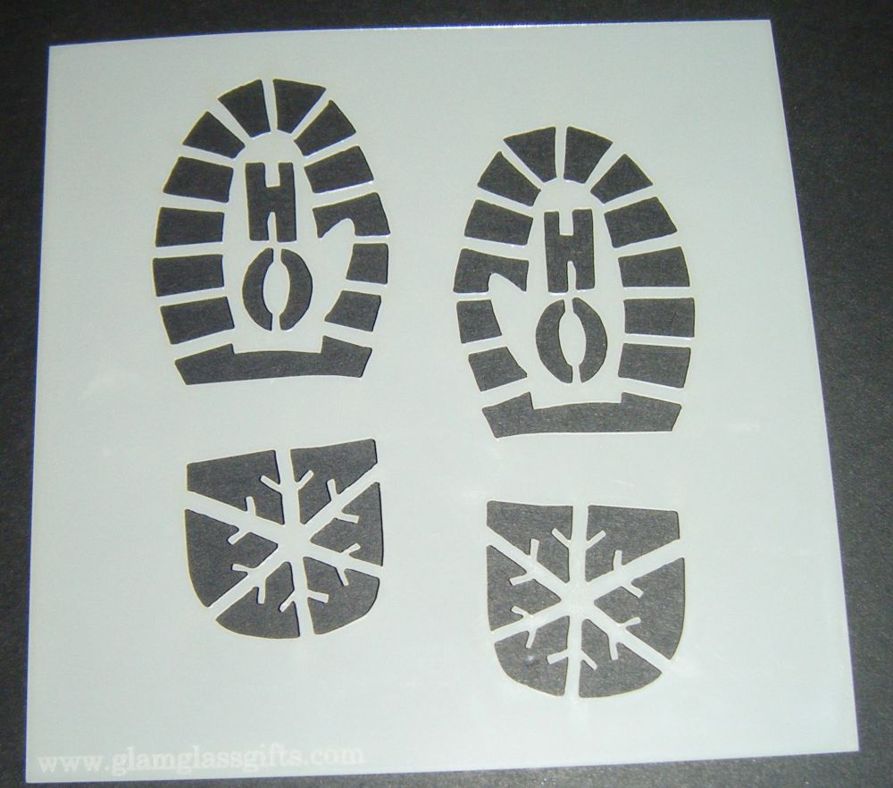 Santa Boot Foot Prints Design Cake Craft Stencil