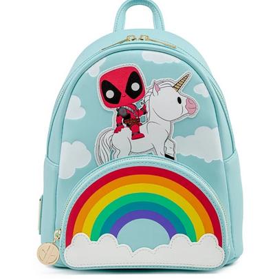 Deadpool 30th Anniversary Unicorn Rainbow Loungefly Marvel Mini Backpack Bag