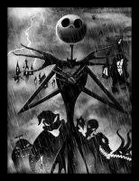 Nightmare Before Christmas - Jack Skellington Storm- Framed Print Wall Art