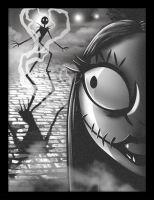 Nightmare Before Christmas - Jack + Sally - Framed Print Wall Art