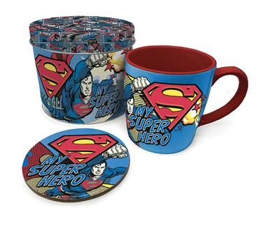Superman - Coffee Mug, Coaster And Tin