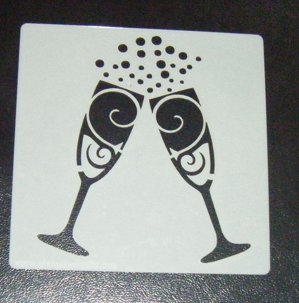 Champagne Glasses Cake Decorating Stencil