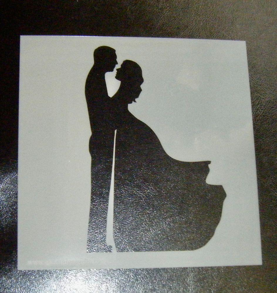 Wedding Couple Silhouette Cake Crafts Stencil