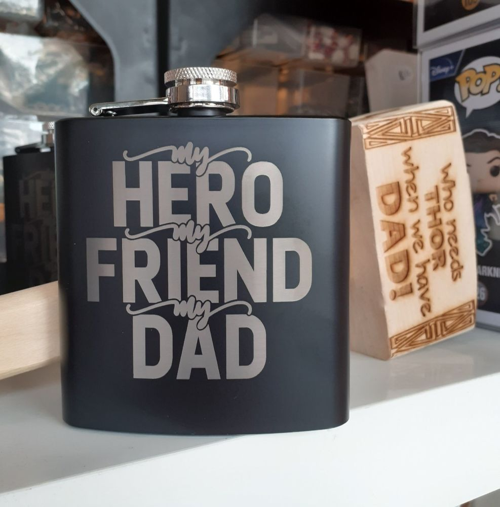 Black Engraved Hip Flask - Dad My Hero