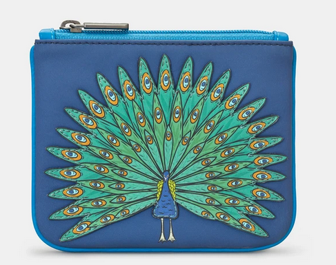 Peacock Design Zip Top Leather Coin Purse - Yoshi