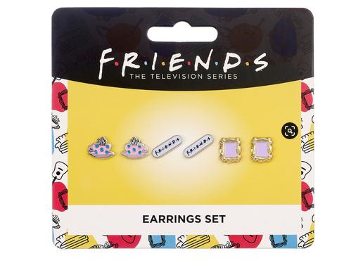 Friends - Set of 3 Earring Studs -Frame, Coffee Cup, & Friends Logo