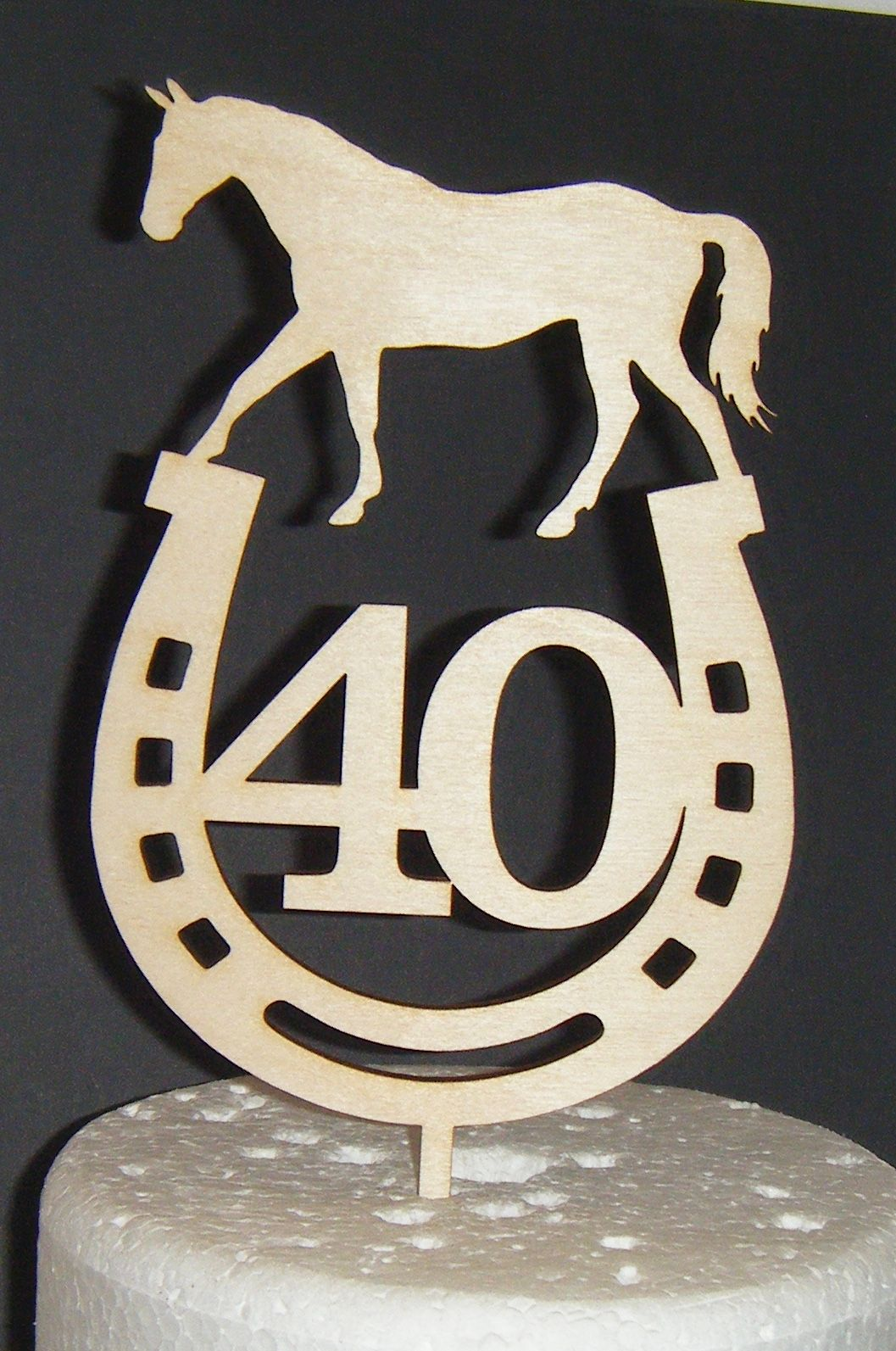 ANY Number 40 or 21, 18, 30, 50, etc with Horse and Horseshoe Cake Topper