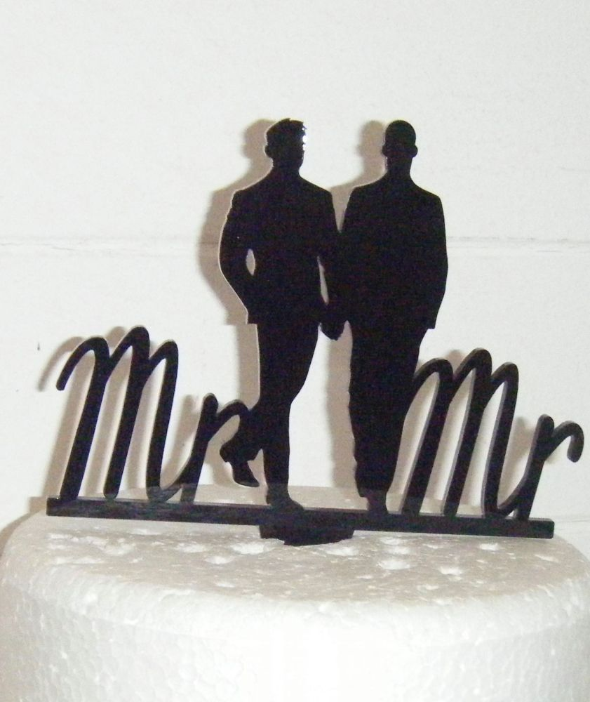 Mr + Mr  Silhouette Gay Lasercut Wedding Cake Topper