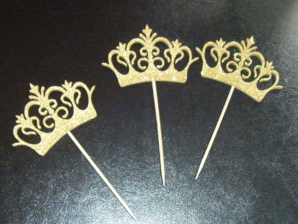 Glitter or Plain Card Fancy Crown Cupcake Picks