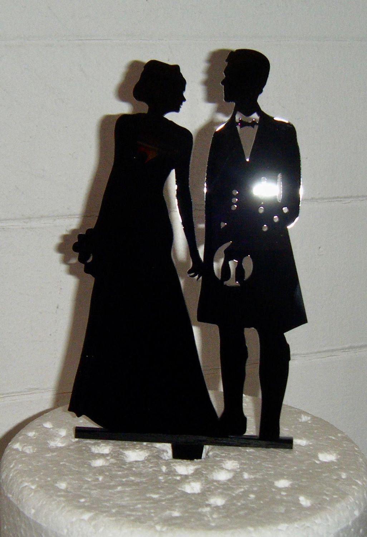 Wedding Couple Silhouette Cake Topper - Man in Kilt