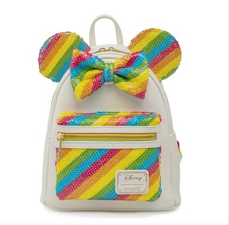 Rainbow Sequin Disney Minnie Loungefly Mini Backpack Bag
