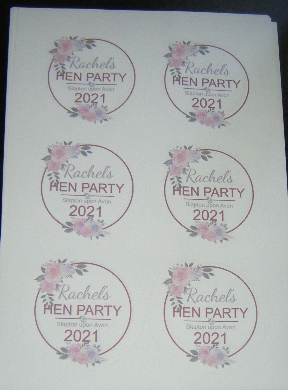 A4 6 Per Sheet Sheet of Custom Hen Party Stickers
