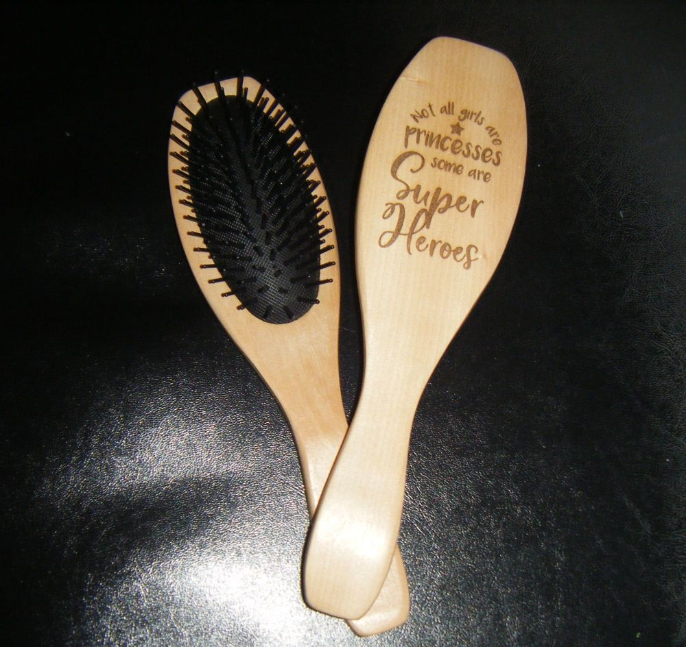 Laser Engraved Wooden Hairbrush - Not All Girls Are Princesses