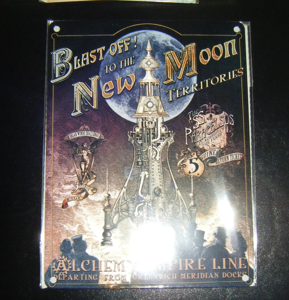 Blast Off to The Moon Steampunk Style Metal Wall Sign