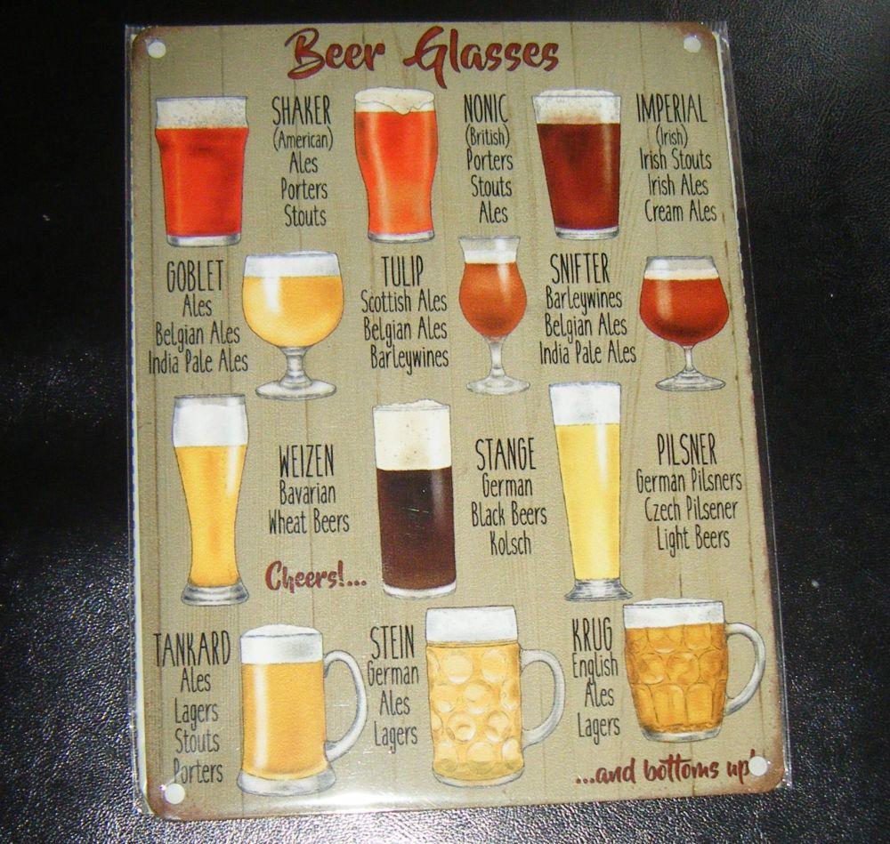 Beer Glasses Metal Wall Sign