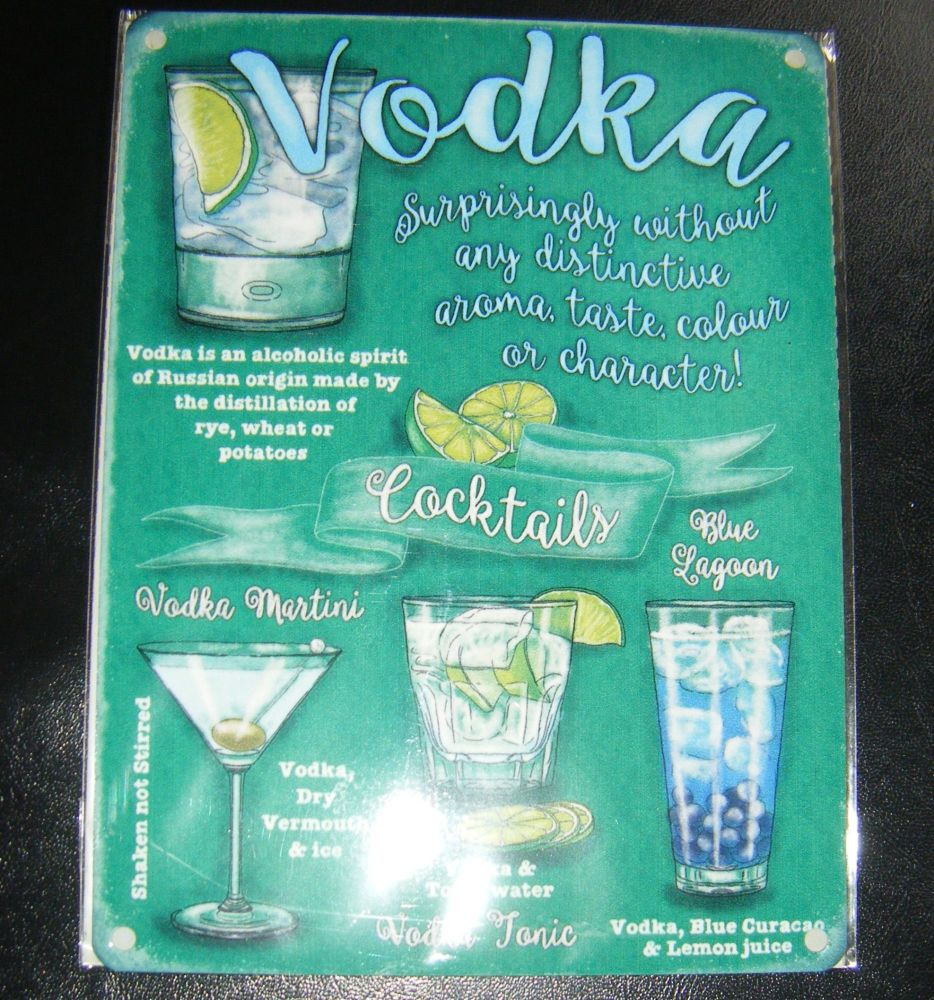 Vodka Cocktails Metal Wall Sign