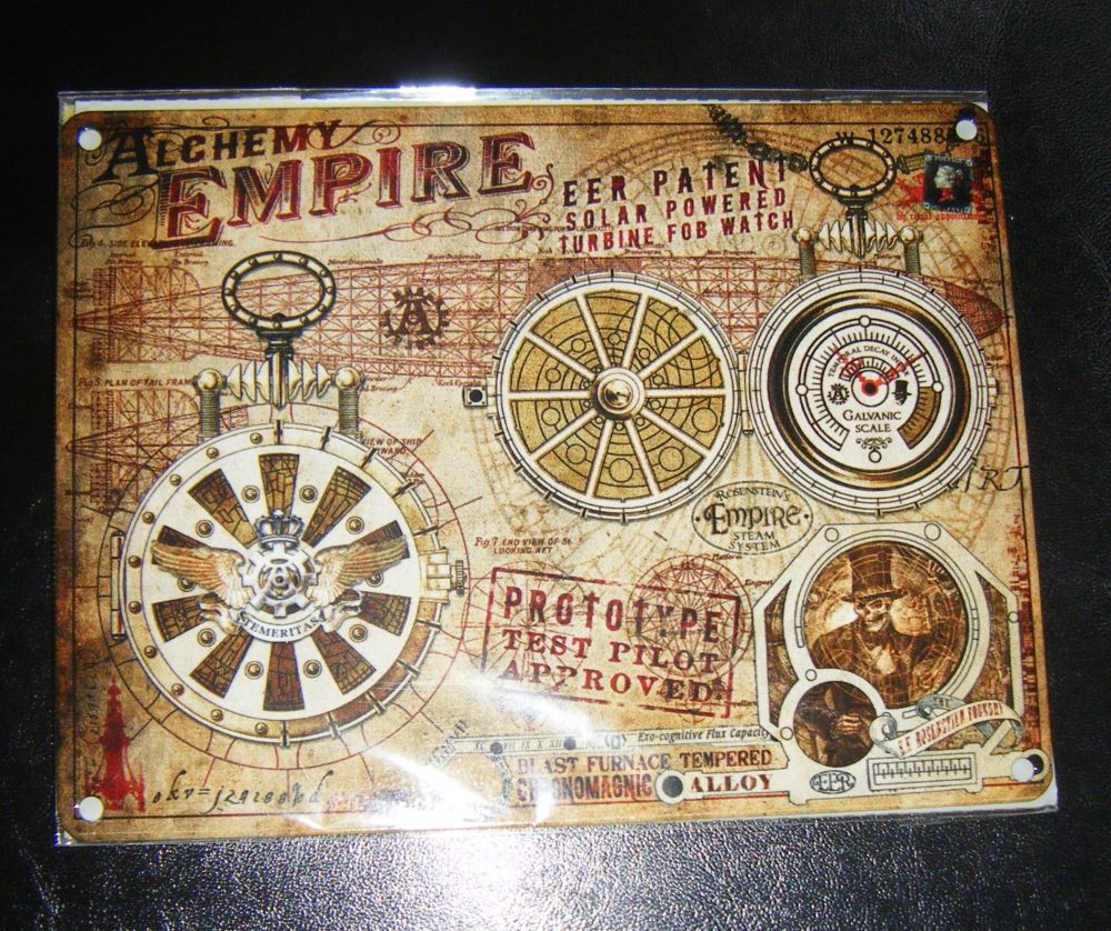 Alchemy Empire Steampunk Style Metal Wall Sign