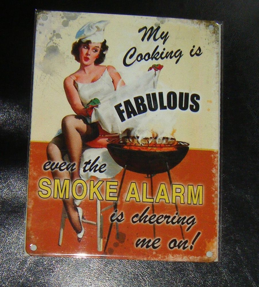 Cooking Is Fabulous Funny Metal Wall Sign