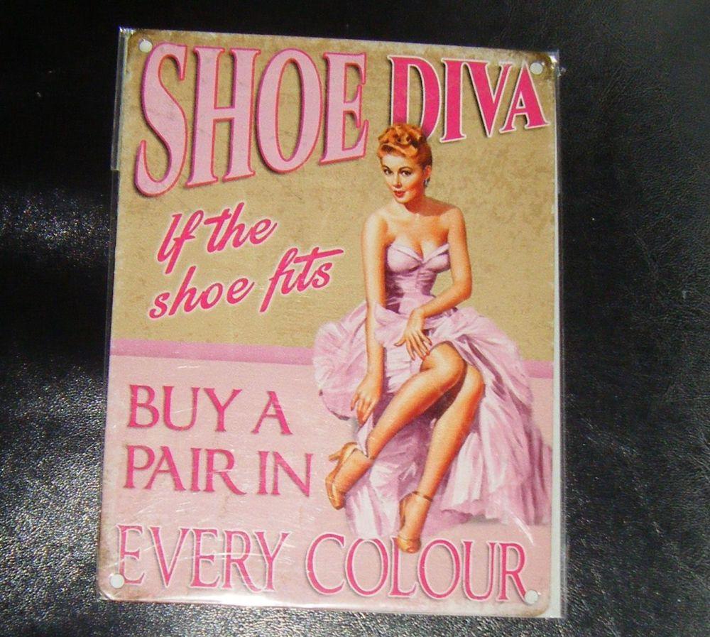 Shoe Diva Fun Metal Wall Sign