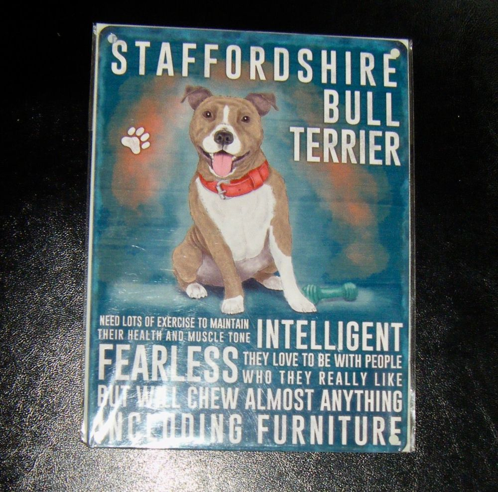 Staffordshire Bull Terrier  - Dog Breed Metal Wall Sign